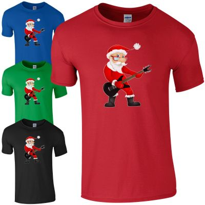 Rock Star Santa T-Shirt - Funny Father Christmas Rocking Claus Gift Kids Men Top